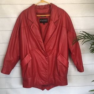 Wilson Rare 80's Red Leather Shoulder Pad Jacket